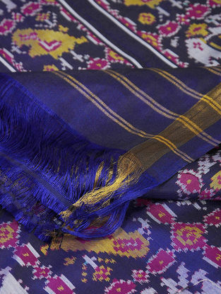 Blue-Yellow Single Ikat Silk Dupatta with Zari