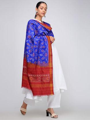 Blue-Red Single Ikat Silk Dupatta with Zari