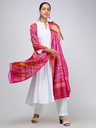 Pink-Yellow Single Ikat Silk Dupatta with Zari
