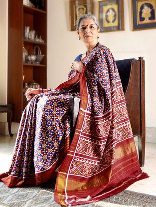Blue-Red Double Ikat Patan Patola Silk Saree with Zari Border