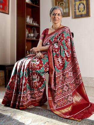 Red-Green Double Ikat Patan Patola Silk Saree with Zari Border
