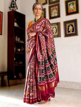 Red-White Double Ikat Patan Patola Silk Saree with Zari Border