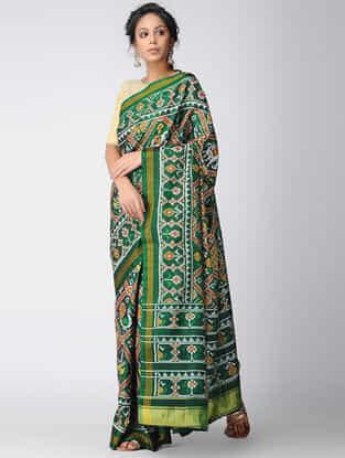 Green-Brown Narikunj Single Ikat Silk Saree with Zari