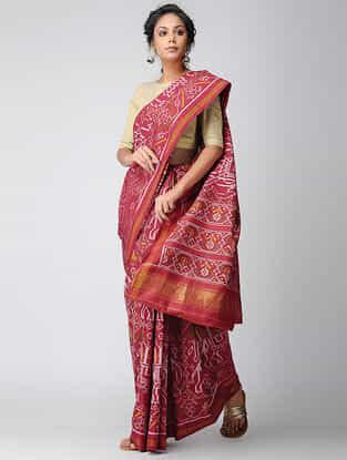 Red-Ivory Single Ikat Silk Saree with Zari