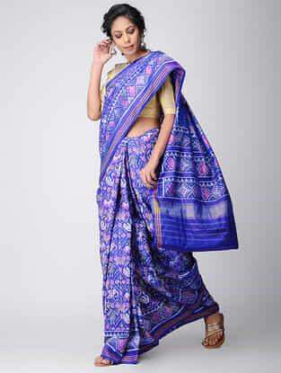 Blue-Pink Narikunj Single Ikat Silk Saree with Zari