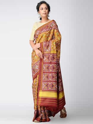 Mustard-Red Single Ikat Silk Saree with Zari