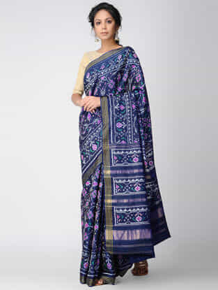Blue-Purple Single Ikat Silk Saree with Zari