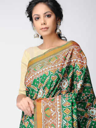 Green-Brown Single Ikat Silk Saree with Zari