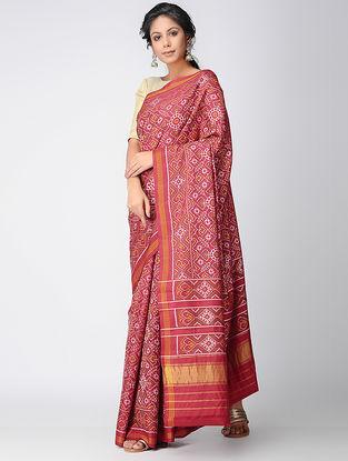 Pink-Yellow Single Ikat Silk Saree with Zari