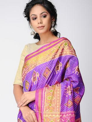 Purple-Orange Single Ikat Silk Saree with Zari