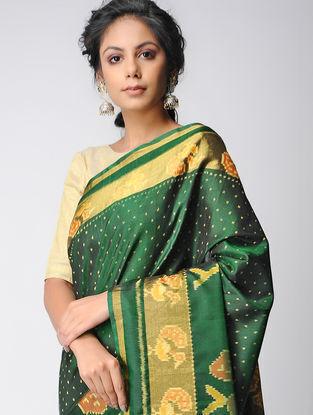 Green-Yellow Single Ikat Silk Saree with Zari