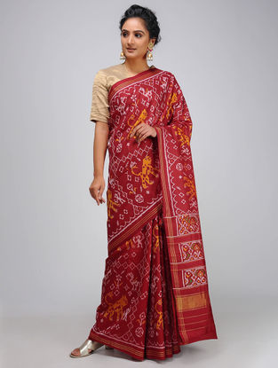 Red-Yellow Single Ikat Silk Saree with Zari