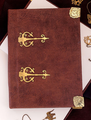 Brown Notepad with Brass Embellishment