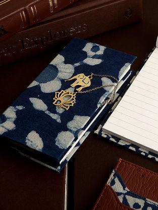 Indigo Notepad with Brass Bookmark