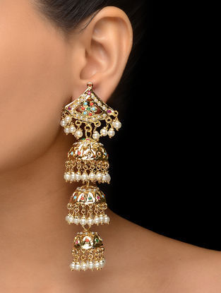 Multicolored Silver and Copper Jhumka with Jadau and Aari Cut Work