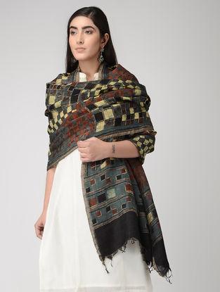 Indigo-Yellow Natural-dyed Ajrakh-printed Linen Silk Dupatta with Zari Border