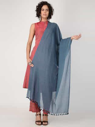 Indigo Tassel Detail Cotton Handloom Dupatta