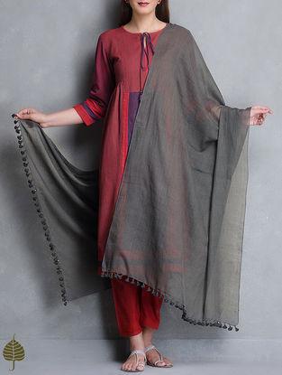 Charcoal Black Tassel Detail Cotton Handloom Dupatta by Jaypore