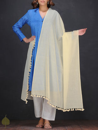 Cream Cotton Dupatta with Tassels by Jaypore