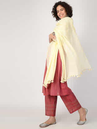Cream Handloom Cotton Dupatta with Tassels