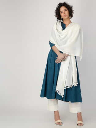 Ivory Cotton Dupatta with Tassels by Jaypore