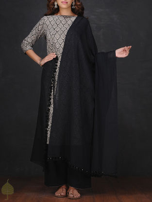Black Cotton Dupatta with Tassels by Jaypore