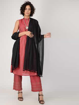 Black Cotton Dupatta with Tassels by Jaypore