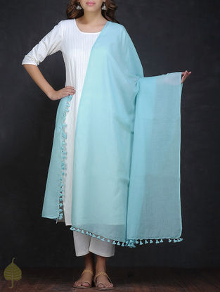 Blue Cotton Dupatta with Tassels by Jaypore