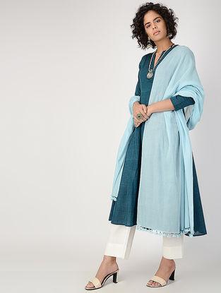 Blue Cotton Dupatta with Tassels by Jaypore