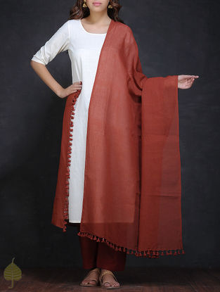 Maroon Cotton Dupatta with Tassels by Jaypore