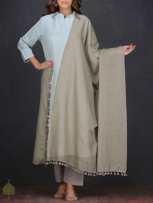 Grey Cotton Dupatta with Tassels by Jaypore