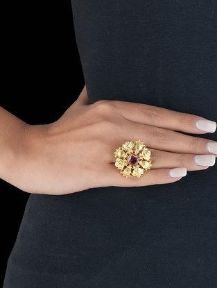 Floral Filigree Adjustable Silver Ring