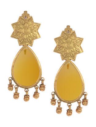 Embossed Pear Silver Earrings