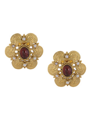 Garnet Cabochon Gold Tone Silver Earrings with Pearls