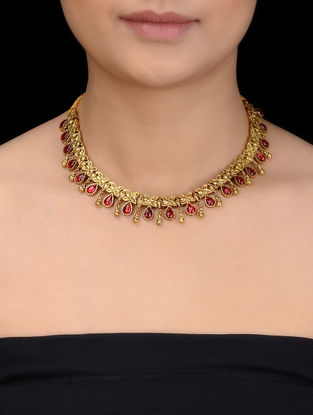 Red Glass Gold Tone Silver Necklace