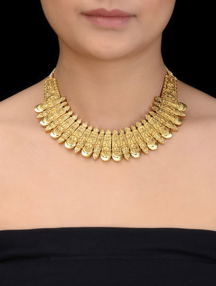 Gold Tone Silver Necklace with Deity Motif