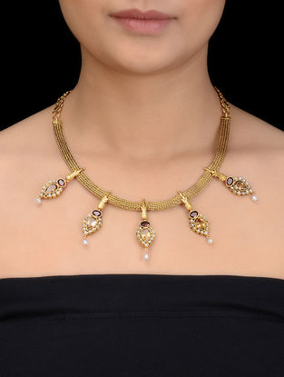 Citrine and Garnet Faceted Gold Tone Silver Necklace with Pearls