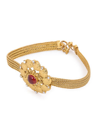 Red Glass Gold Tone Silver Bracelet with Pearls