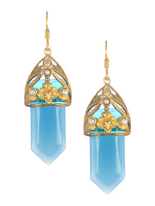 Classic Blue Glass Gold-plated Silver Earrings with Pearls