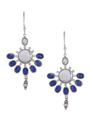 Blue Glass Silver Drop Earrings with Floral Motif