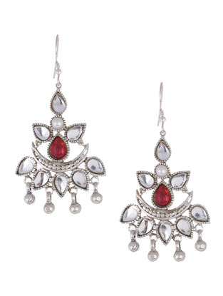 Red Glass Silver Drop Earrings with Pearls