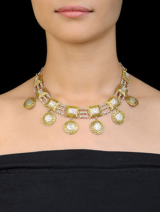 Classic Dual Tone Silver Necklace with Floral Motif