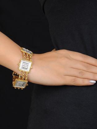 Classic Dual Tone Silver Bracelet with Floral Motif