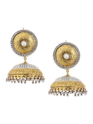 Classic Pearl Dual Tone Silver Jhumkis