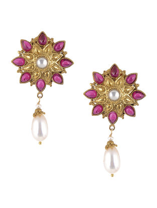 Pink Gold Tone Pearl Drop Silver Earrings with Floral Design