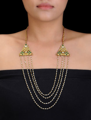 Pearl Beaded Gold Tone Silver Necklace