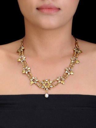 Pink Gold Tone Pearl Drop Silver Necklace with Floral Design