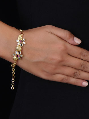 Pink Gold Tone Silver Bracelet with Floral Design