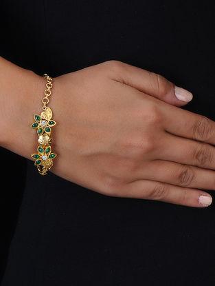 Green Crystal Gold Tone Silver Bracelet with Floral Design