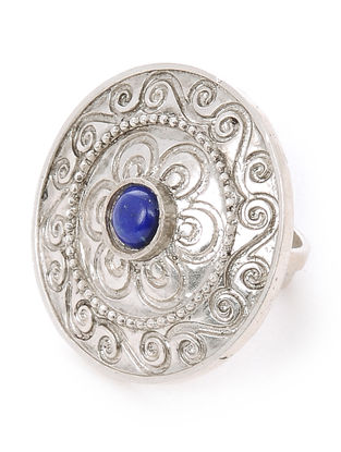 Lapis Lazuli Adjustable Silver Ring with Floral Motif